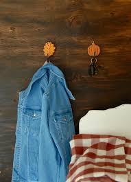 fall inspired leaf and pumpkin wall hooks