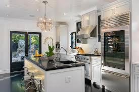 leaded glass french doors black marble countertop contemporary kitchen jeff lewis design