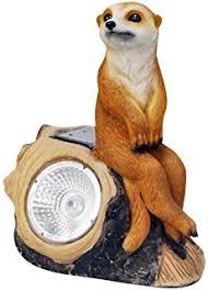 solar powered decorative garden ornament meerkat light up lantern