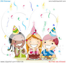 singing happy birthday royalty free rf clip illustration of diverse kids singing