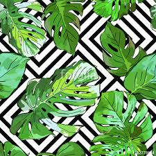 tropical wrapping paper green palm tree leaves on black and white geometric background