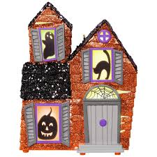 mysterious manor haunted house halloween ornament with light and