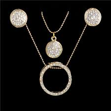 necklace earrings chain images One set women 39 s gold color shiny austrian crystal hollow chain jpg