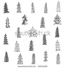 doodle tree set on blue stock vector 347084192