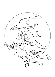 pretty witch coloring page for kids printable free halloween