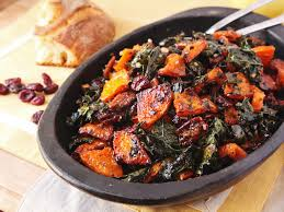 make ahead roasted squash and kale salad with spiced nuts