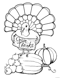 thanksgiving turkey give thanks coloring pages printable