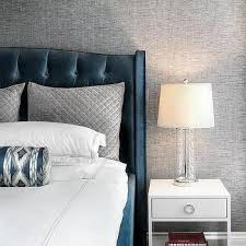 Blue And Gray Bedroom Blue Velvet Tufted Headboard With Charcoal Gray Accent Wall