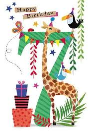Jungle Birthday Card Giraffe And Toucans 7th Birthday Card Karenza Paperie