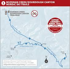 Bozeman Montana Map by Bozeman Community Nordic Trails Maps
