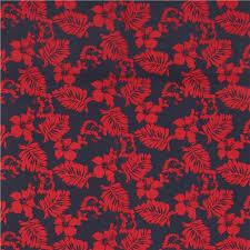 Dark Red Flower - navy blue robert kaufman dark red flower leaf fabric paradise