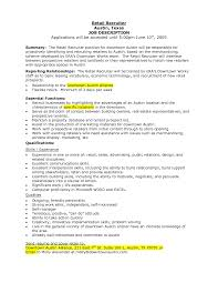 Retail Job Responsibilities Resume by Retail Job Description For Resume Resume For Your Job Application