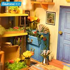 robotime diy dollhouse wooden miniature furniture kit with led