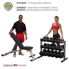 Body Solid Folding Bench New Body Solid Gfid225 Bench Rubber Dumbbells 5 50lbs Dumbbell