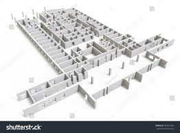 Construction Site Plan Construction Site 3d Blueprint Isolated On Stock Illustration