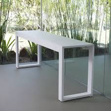modern long wood console table painted with white color ideas