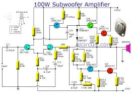 subwoofer amplifier 100w output with transistor audio schematic