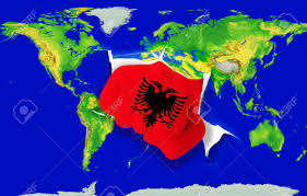 Map Of Albania Fist In Color National Flag Of Albania Punching World Map As