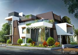 side angle view of contemporary bungalow beautiful house