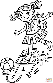 playing hopscotch coloring page free printable coloring pages