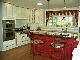 distressed island kitchen red island white distressed cabinets bead board ceiling home