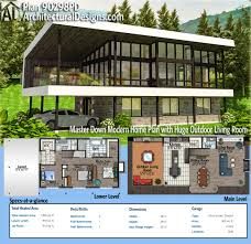 Modern Villa Floor Plans by Plan 90298pd Master Down Modern Home Plan With Huge Outdoor