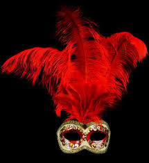 feather mask feather masquerade mask rosso