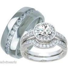 his and hers engagement rings his and hers wedding ring sets