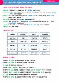 english exercises countable and uncountable nouns