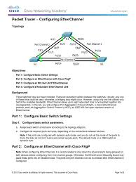 3 2 1 3 packet tracer configuring etherchannel instructions