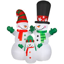 Christmas Yard Decorations Lowes by Shop Holiday Living 12 00 Ft X 6 2335 Ft Lighted Snowman Christmas