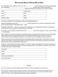 free minnesota vehicle bill of sale form download pdf word