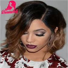 pictures of black ombre body wave curls bob hairstyles virgin short ombre bob full lace wig with bleached knots left part