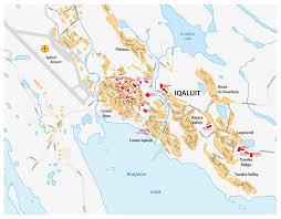capital of canada map map of iqaluit nunavut territory canada stock