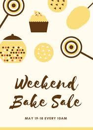 cream illustration bake sale flyer templates by canva