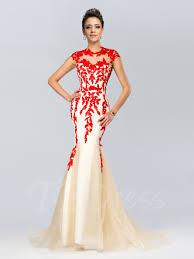 evening dress mermaid neckline appliques evening dress tbdress