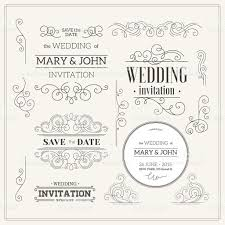 vintage wedding invitation design kit elements ornaments badges