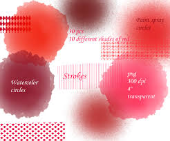 Different Shades Of Red Watercolor Circles Graffiti Paint Clipart 30 Pcs Graphic Design