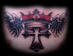 king crown cross and wings chestpiece tattoos ideas