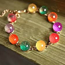 color bead bracelet images Shiny polyhedron beads bracelet cuff jewelry for women jpg