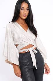 metallic blouse metallic plisse wrap tie crop blouse