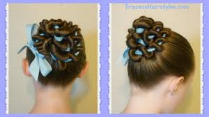 ribbon coiled bun hairstyle tutorial youtube