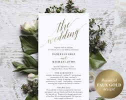 program wedding gold wedding program wedding program printable wedding programs