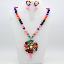 turquoise stone necklace set images Mybluepink multicolor shell pearl and stone necklace set jpg