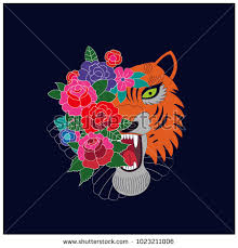 japanese style tiger roses tiger flowers stock vector 1023211006