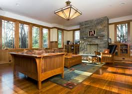 Prairie Style House Design Wooden Flooring And Furniture Craftsman Family Room Prairie Style