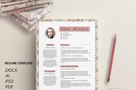 vintage floral flower resume template cv template coverletter