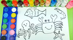 drawing animal sea fish octopus prawn crab learning number