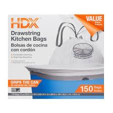 hdx 13 gal kitchen drawstring white trash bag 150 count