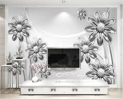 popular wallpaper murals flowers white buy cheap wallpaper murals beibehang custom wallpaper living room bedroom mural stereo relief white chrysanthemum flower tv background 3d wallpaper